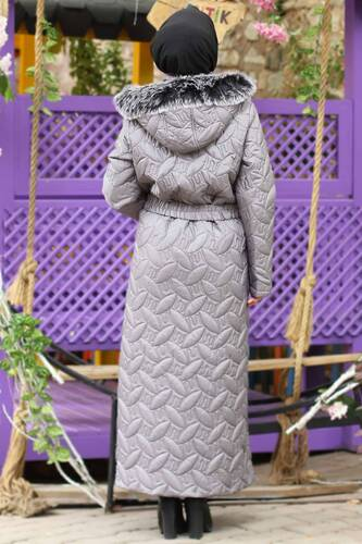 Plus Size Quilted Coat TSD9904 Gray - Thumbnail