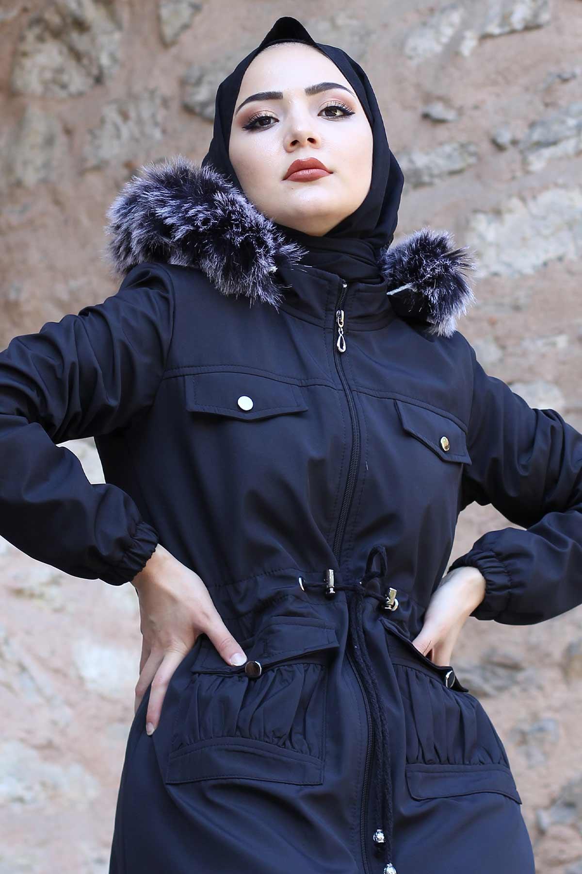 Pocket Detailed Fur Inside Coat TSD8906 Black