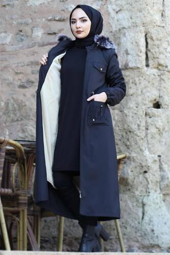 Pocket Detailed Fur Inside Coat TSD8906 Black - Thumbnail