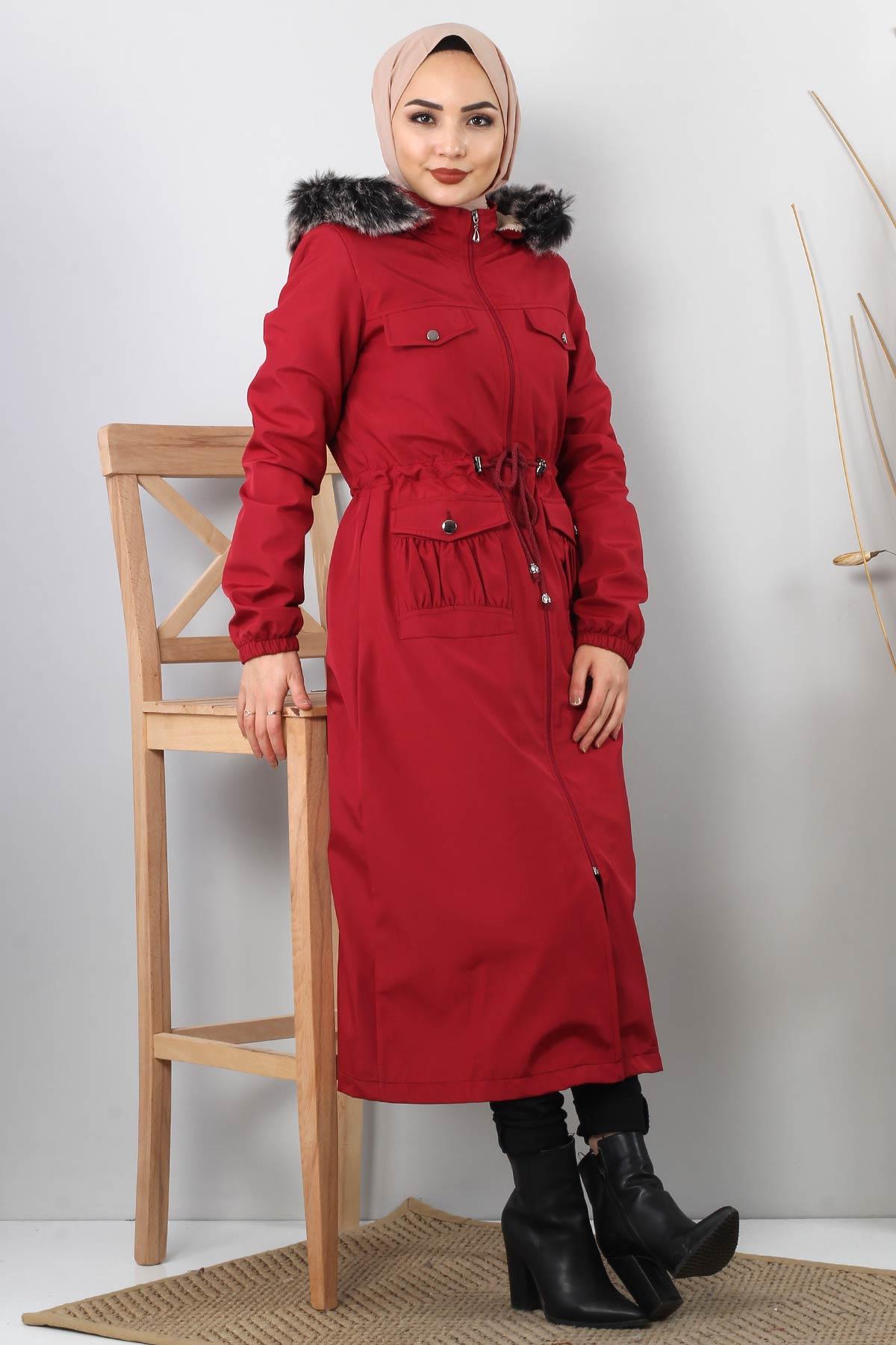 Pocket Detailed Fur Inside Coat TSD8906 Claret Red