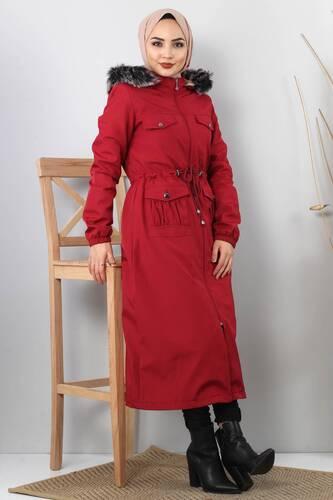 Pocket Detailed Fur Inside Coat TSD8906 Claret Red - Thumbnail