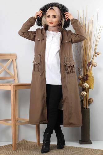 Tesettür Dünyası - Pocket Detailed Fur Inside Coat TSD8906 Mink