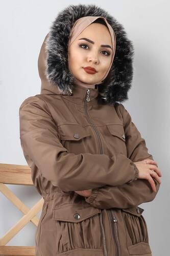 Pocket Detailed Fur Inside Coat TSD8906 Mink - Thumbnail