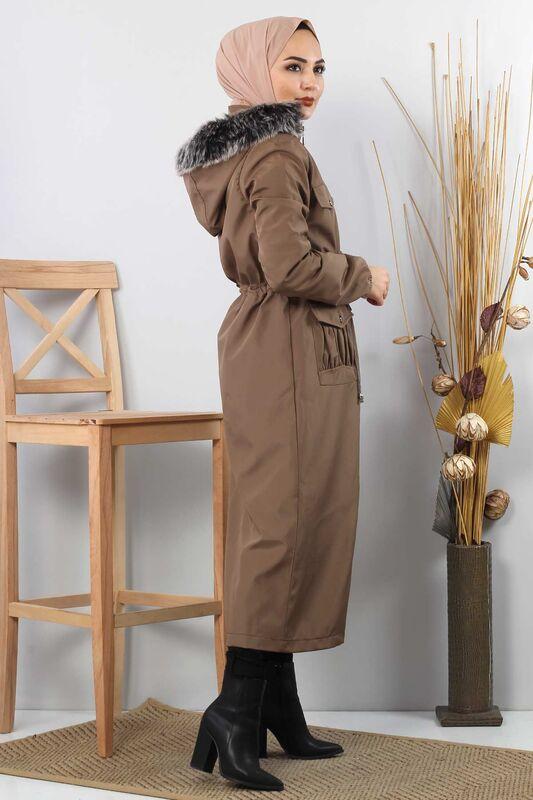 Pocket Detailed Fur Inside Coat TSD8906 Mink