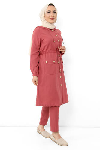 Pocket Laced Hijab Double Suit TSD0125 Coral - Thumbnail