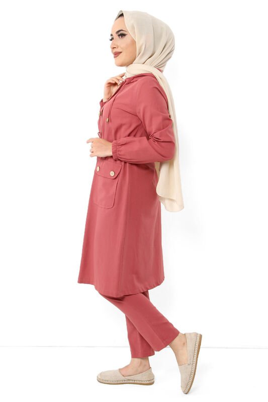 Pocket Laced Hijab Double Suit TSD0125 Coral
