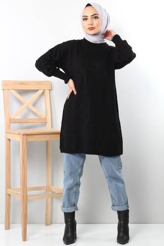 Ponponlu Triko Tunik TSD3752 Siyah - Thumbnail