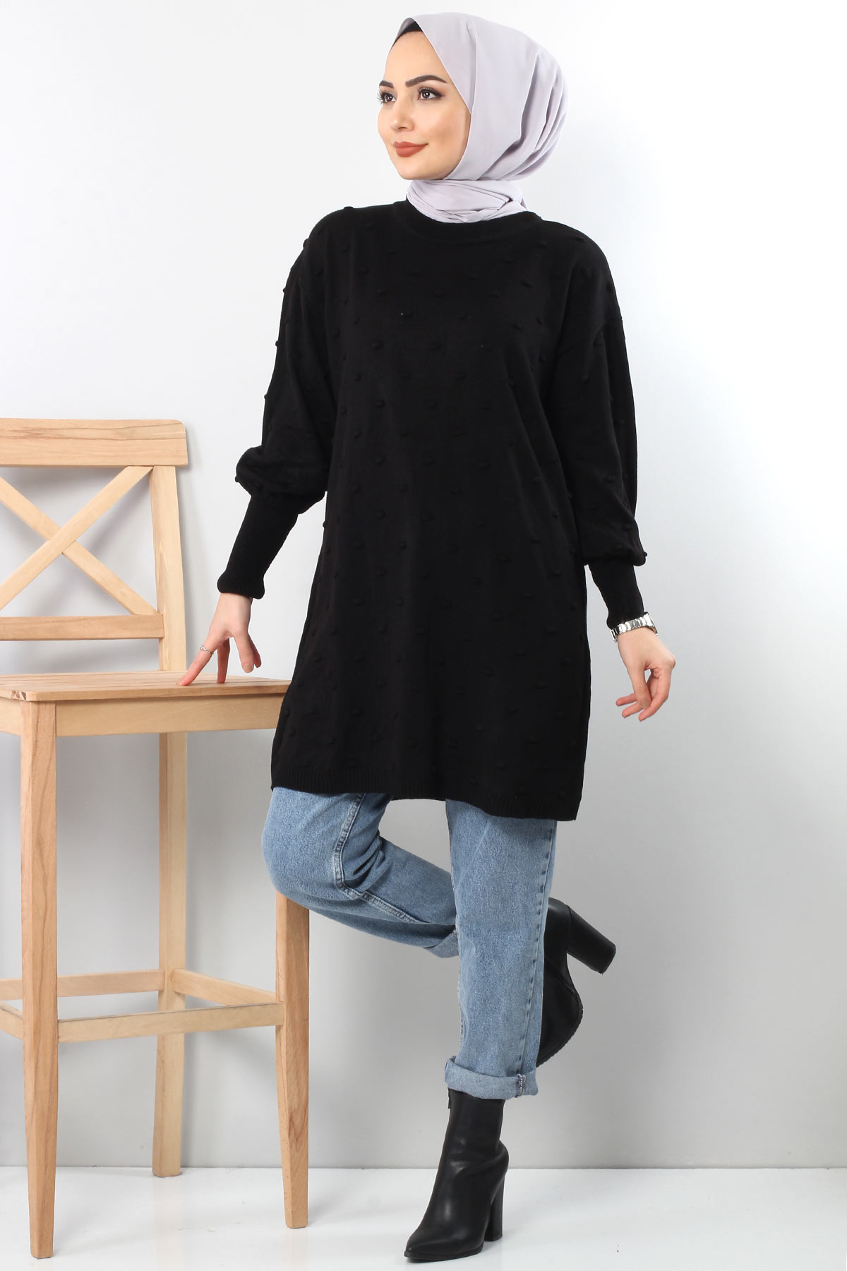 Ponponlu Triko Tunik TSD3752 Siyah
