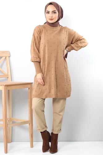 Tesettür Dünyası - Ponponlu Triko Tunik TSD3752 Kahverengi