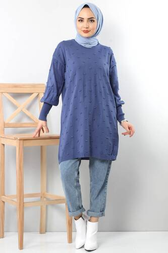 Tesettür Dünyası - Ponponlu Triko Tunik TSD3752 Mavi