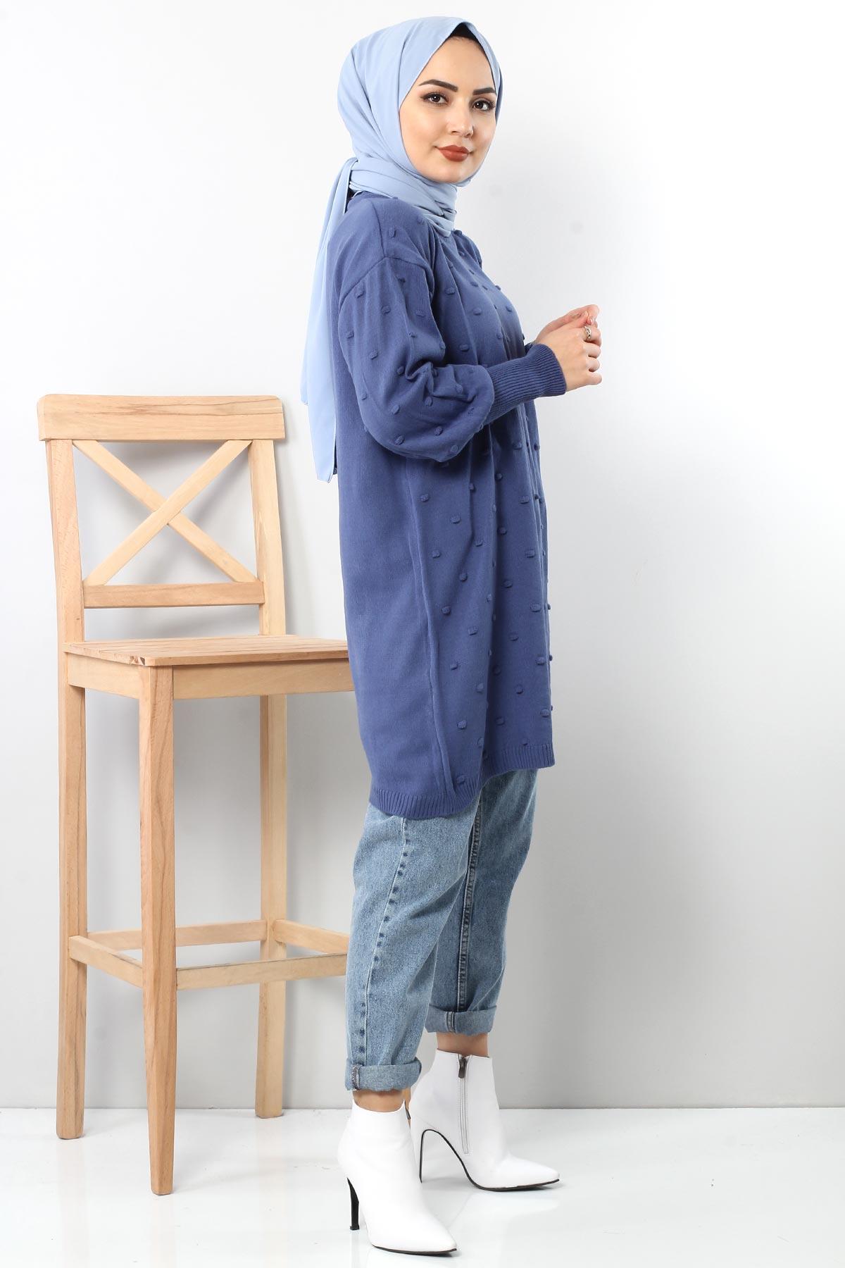 Ponponlu Triko Tunik TSD3752 Mavi
