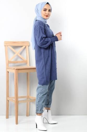 Ponponlu Triko Tunik TSD3752 Mavi - Thumbnail