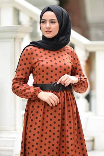 Tesettür Dünyası - Puantiyeli Tesettür Elbise TSD6041 Kiremit (1)