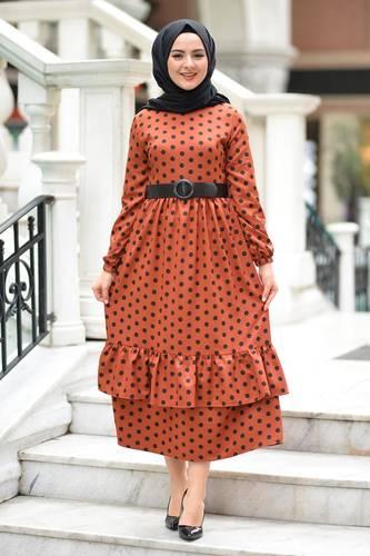 Tesettür Dünyası - Puantiyeli Tesettür Elbise TSD6041 Kiremit