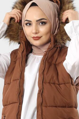 Puffer jacket with fur TSD1842 Brown. - Thumbnail