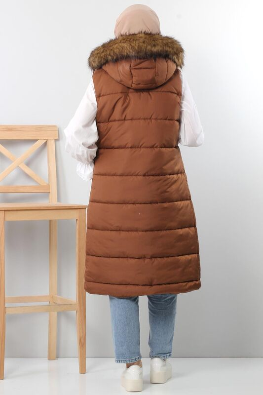Puffer jacket with fur TSD1842 Brown.
