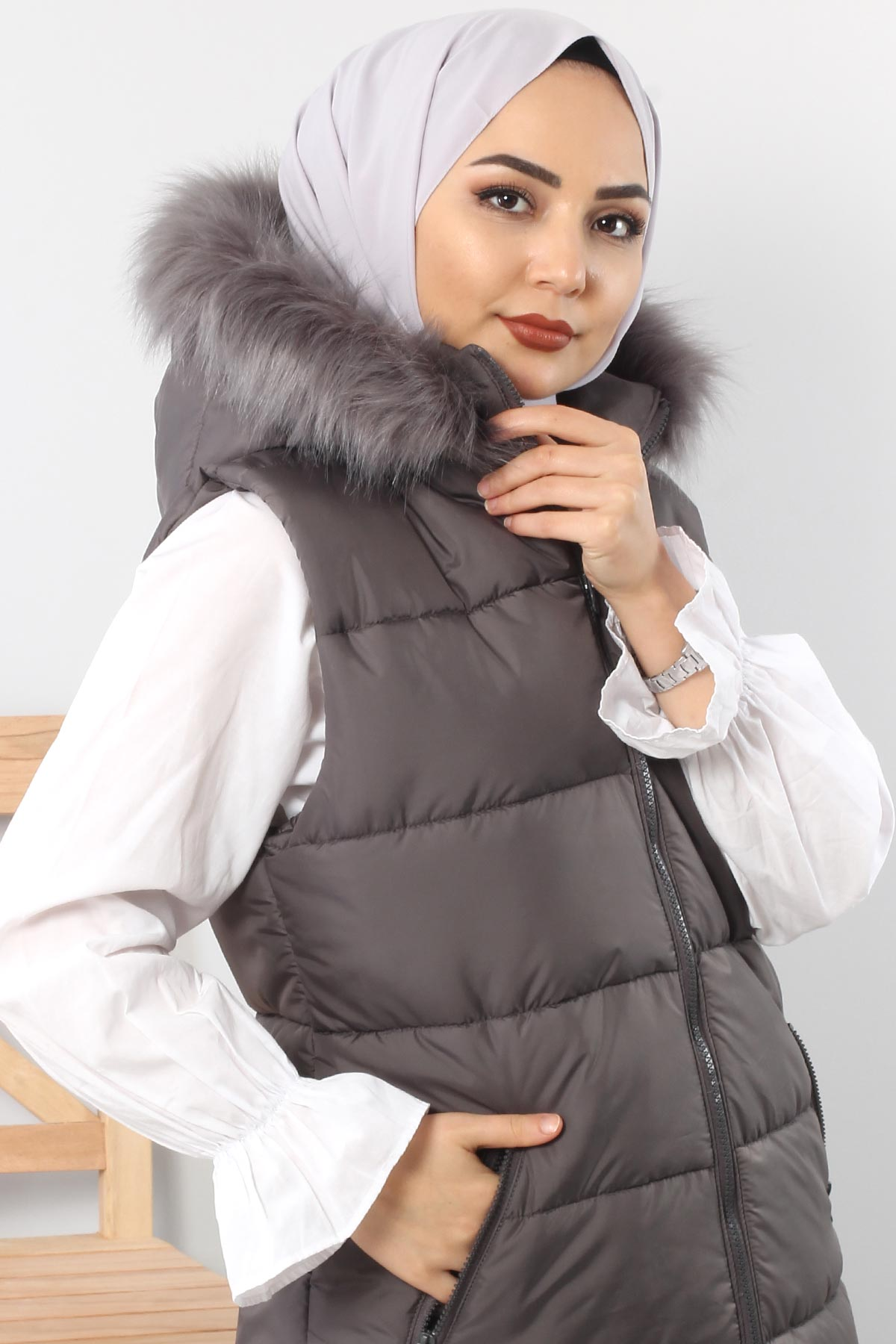 Puffer jacket with fur TSD1842 Gray.
