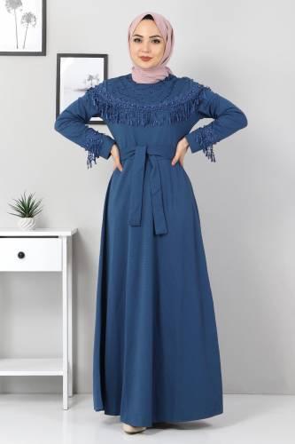 Püskül Detaylı Elbise TSD5137 İndigo - Thumbnail