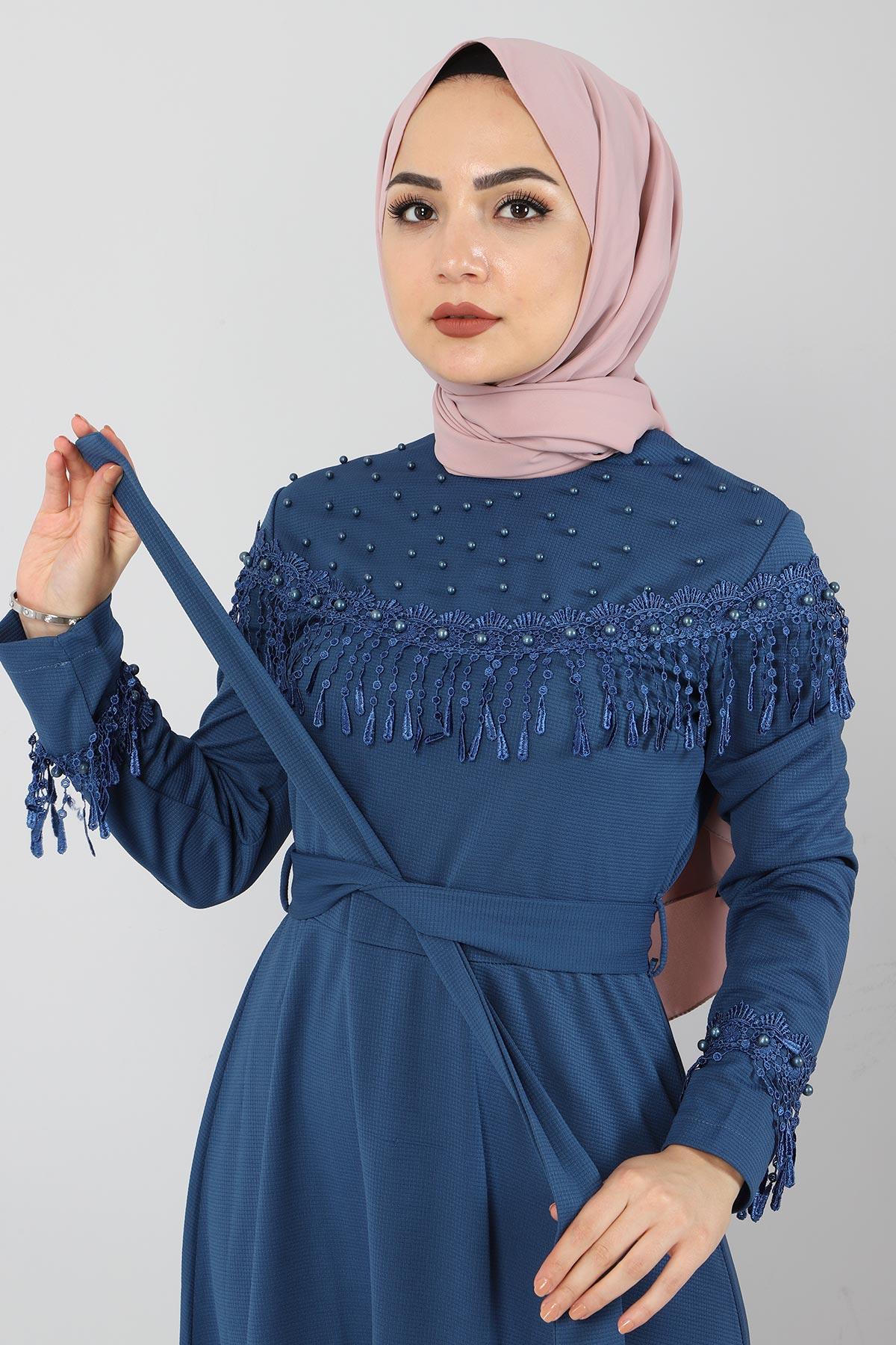Püskül Detaylı Elbise TSD5137 İndigo