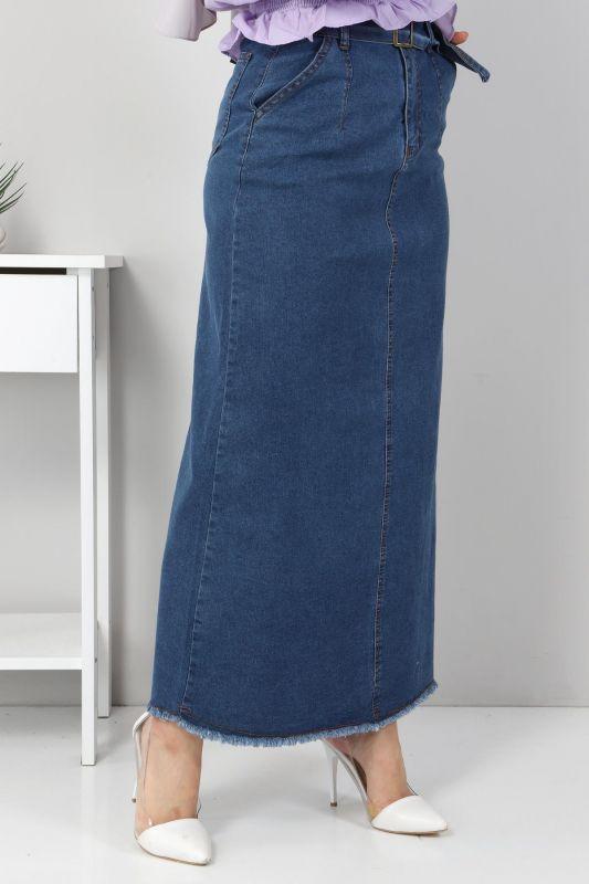 Püskül Detaylı Kot Etek TSD22061 Koyu Mavi