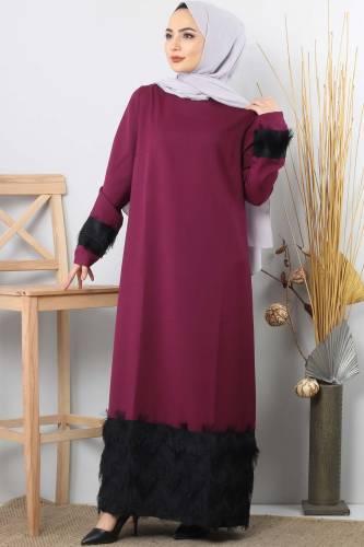 Püskül Detaylı Tesettür Elbise TSD0963 Mürdüm - Thumbnail
