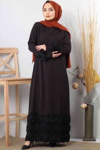Tesettür Dünyası - Püskül Detaylı Tesettür Elbise TSD0963 Siyah
