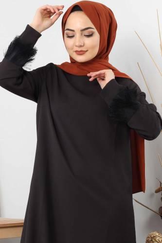 Tesettür Dünyası - Püskül Detaylı Tesettür Elbise TSD0963 Siyah (1)