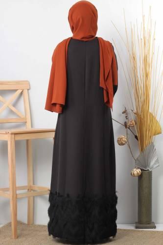 Püskül Detaylı Tesettür Elbise TSD0963 Siyah - Thumbnail