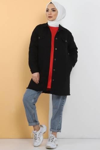 Tesettür Dünyası - Püsküllü Kot Ceket TSD0039 Siyah