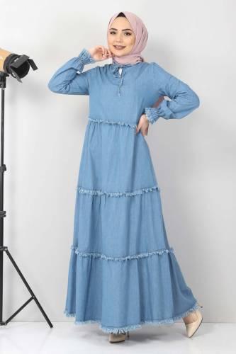 Tesettür Dünyası - Püsküllü Kot Elbise TSD66121 Açık Mavi