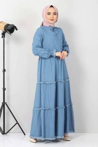 Tesettür Dünyası - Püsküllü Kot Elbise TSD66121 Açık Mavi (1)