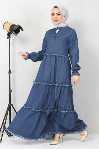 Tesettür Dünyası - Püsküllü Kot Elbise TSD66121 Koyu Mavi