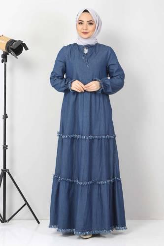 Tesettür Dünyası - Püsküllü Kot Elbise TSD66121 Koyu Mavi (1)