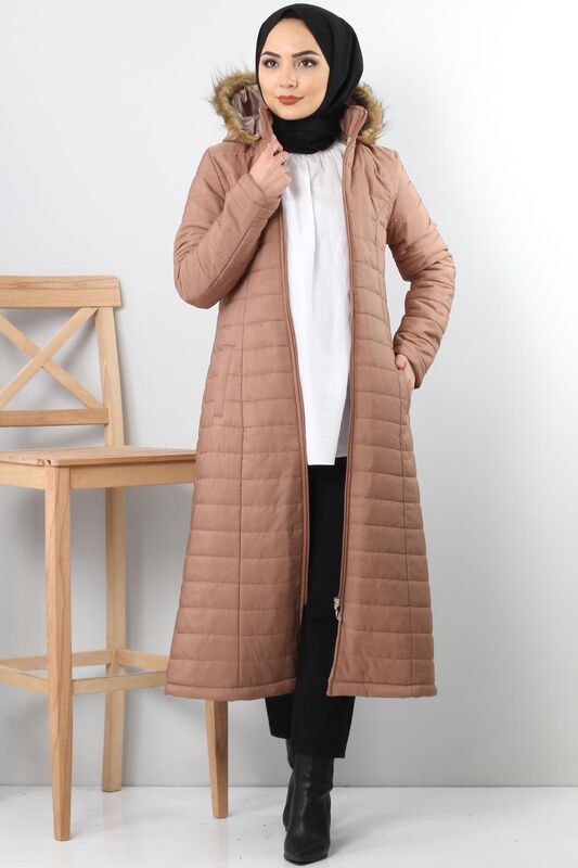 Quilted Coat TSD4446 Light Brown