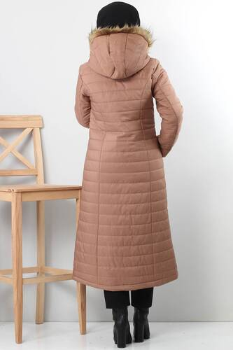 Quilted Coat TSD4446 Light Brown - Thumbnail