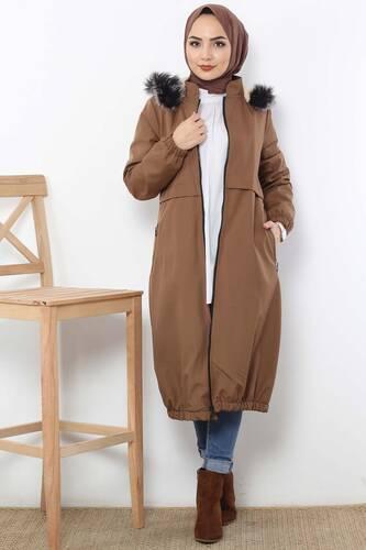 Tesettür Dünyası - Rain Proof Bondit Coat TSD3009 Brown