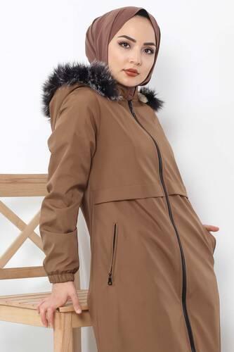 Tesettür Dünyası - Rain Proof Bondit Coat TSD3009 Brown (1)