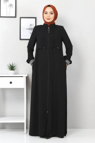 Tesettür Dünyası - Ribanalı Ferace TSD7010 Siyah