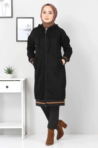 Tesettür Dünyası - Ribbed Suede Coat TSD5508 Black (1)