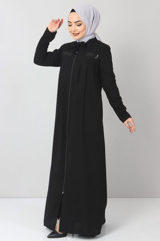 Robalı Pul Payetli Ferace TSD21037 Siyah
