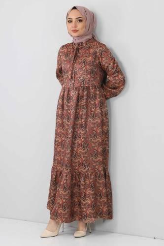Tesettür Dünyası - Şal Desenli Elbise TSD4418 Kahverengi