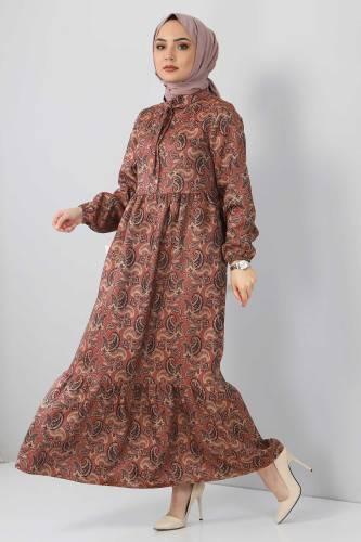 Tesettür Dünyası - Şal Desenli Elbise TSD4418 Kahverengi (1)