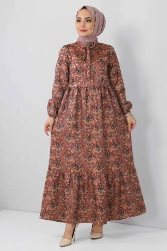 Şal Desenli Elbise TSD4418 Kahverengi - Thumbnail