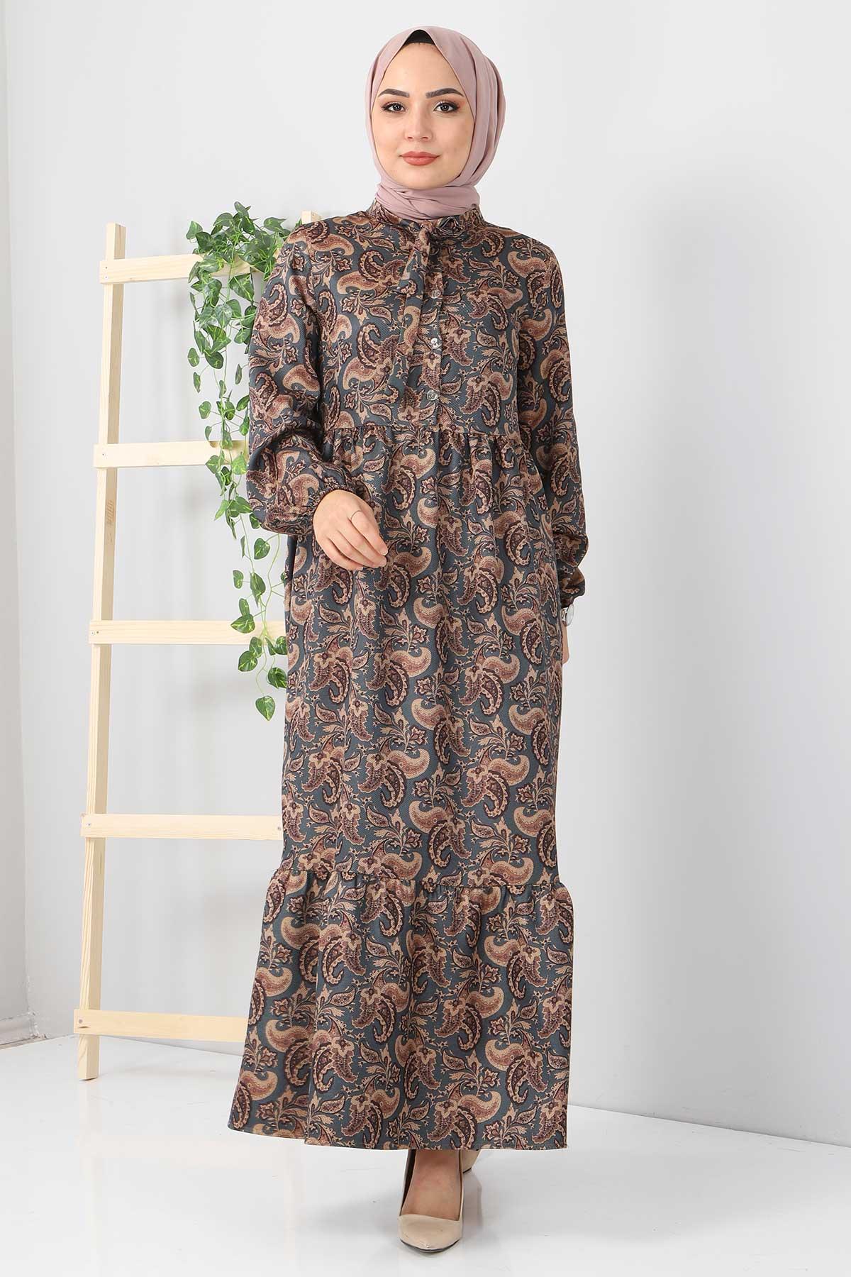 Şal Desenli Elbise TSD4418 Petrol