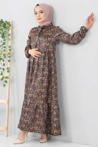 Şal Desenli Elbise TSD4418 Petrol - Thumbnail