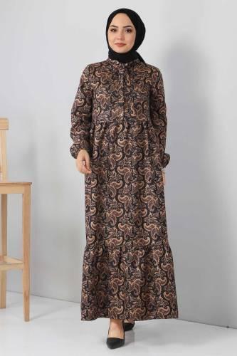 Tesettür Dünyası - Şal Desenli Elbise TSD4418 Siyah (1)