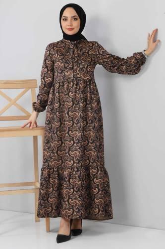 Tesettür Dünyası - Şal Desenli Elbise TSD4418 Siyah