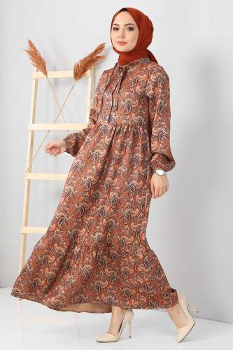 Şal Desenli Elbise TSD4418 Taba - Thumbnail