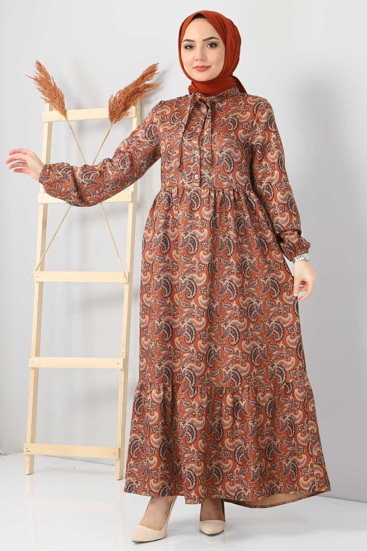Şal Desenli Elbise TSD4418 Taba