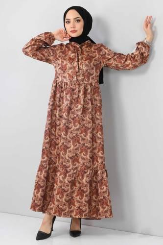 Tesettür Dünyası - Şal Desenli Elbise TSD4418 Vizon